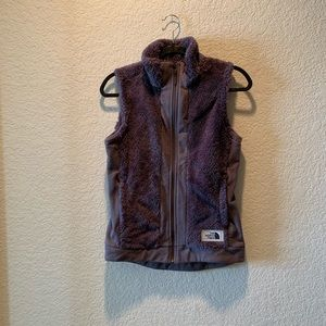 North Face taupe fuzzy vest, size S